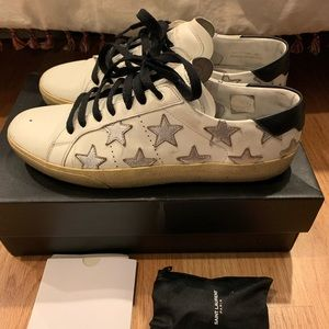 Saint Laurent White Silver Star Sneakers Size 38.5